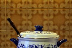 saucepan on a stove - stock photo