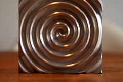 labyrinth, aluminium circle - stock photo