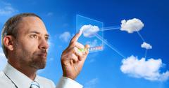 futuristic cloud computer - stock photo