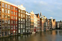 Stock Photo of houses in amsterdam in the evening