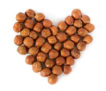 Heart made of nuts Stock Photos