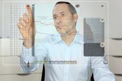 futuristic lcd panel - financial content - stock photo