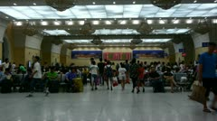 The waiting hall of train station,Chinese o China. - stock footage