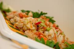 shrimps, buffet - stock photo