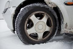 Tires in snow Stock Photos