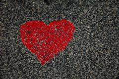 heart on  asphalt - stock photo