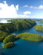 Aerial shot of Palau's Rock Islands - stock photo