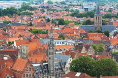 Stock Photo of old traditional houses in brugge, belgium