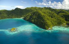 Aerial shot of palau's rock Islands and sheltered bay - stock photo