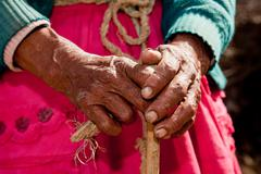 Hands, old woman, south america Stock Photos