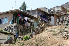 shanty town, lima, peru - stock photo