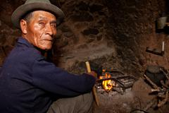 Farmer in a hut, south america Stock Photos