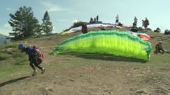 Paraglider launching 03 Stock Footage
