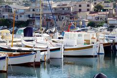 fishing harbor in france - stock photo