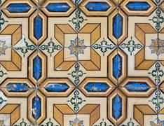 portuguese glazed tiles 124 - stock photo