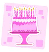 Pink Birthday Cake Illustration Stock Illustration