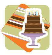 Chocolate Birthday Cake Illustration Stock Illustration