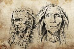 Stock Illustration of tattoo sketch of american indian elders