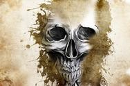 Tattoo evil design with skull Stock Illustration