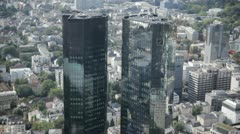 Deutsche Bank Towers in Frankfurt Main View from the Maintower Stock Footage