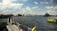 PAN: Neva river, Tourists on embankment, St. Petersburg, Russia Stock Footage