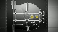Bank Vault opens to reveal Barrel with TOXIC ASSET text Stock Footage