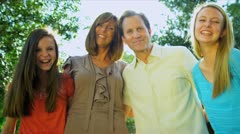Happy Caucasian Family Together Outdoors Stock Footage