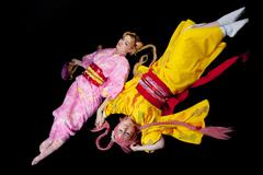 Beauty girls lay in kimono cosplay costume Stock Photos