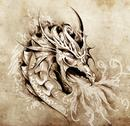 Stock Illustration of sketch of tattoo art, anger dragon with white fire