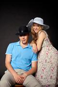 young couple family portrait with pregnant woman - stock photo