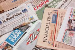 Newspapers from around the world Stock Photos