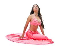 pretty young asian dancer - fresh rose costume - stock photo
