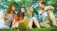 Caucasian Family Sitting Home Garden Stock Footage