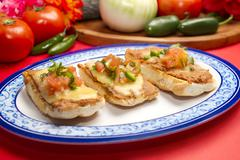 Molletes Mexican Dish - stock photo