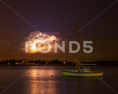 Stock photo of lightning storm at night