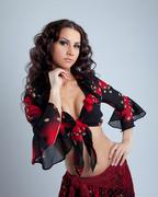 cute young woman portrait  in gypsy costume - stock photo