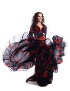 woman dance in gypsy red and black costume - stock photo