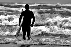 Stock Photo of Silhouette Surfer