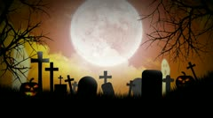 Halloween Background with pumpkins, moon, ghosts and graveyard - stock footage
