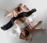 Beauty naked woman yin yang position Stock Photos