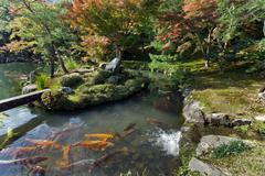 tenryuji temple zen garden - stock photo