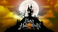 Happy Halloween Background Animation with Moon and Haunted House Stock Footage