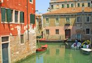 Colourful buildings in Venice Stock Photos