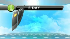 5 Day Weather Forecast Animation for broadcast meteorology report - stock footage