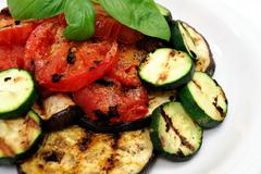 grilled eggplant and veggies - stock photo