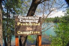 camping prohibited sign - stock photo