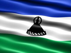 flag of lesotho, computer generated illustration with silky appearance and wa - stock illustration
