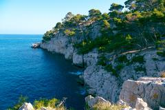 cliff in the sea calanques, france - stock photo
