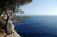Stock Photo of view out to sea from the calanques, france