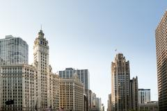 chicago tribune tower and wrigley building - stock photo